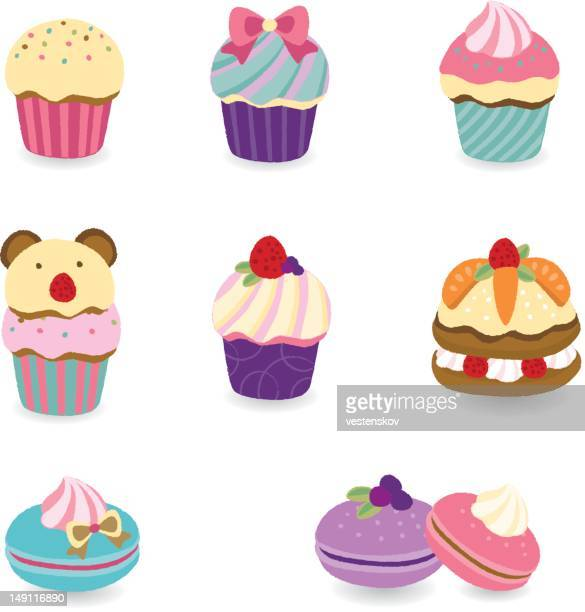 colorful desserts - cupcake, macaroon, layer cake - macaroon stock illustrations, clip art, cartoons, & icons