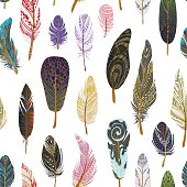 Colorful detailed bird feathers pattern.
