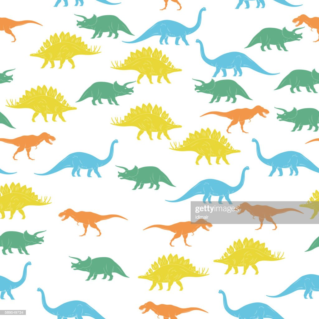 Colorful Dinosaurus Seamles Pattern Background. Vector