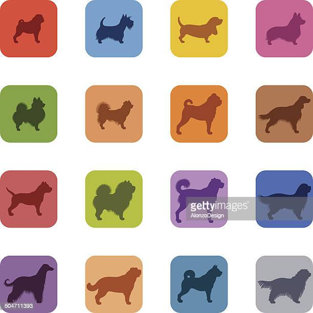 Colorful Dogs Icon Set