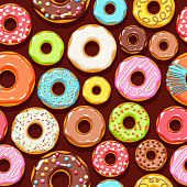 Colorful donuts icons background. Sweet bakery vector