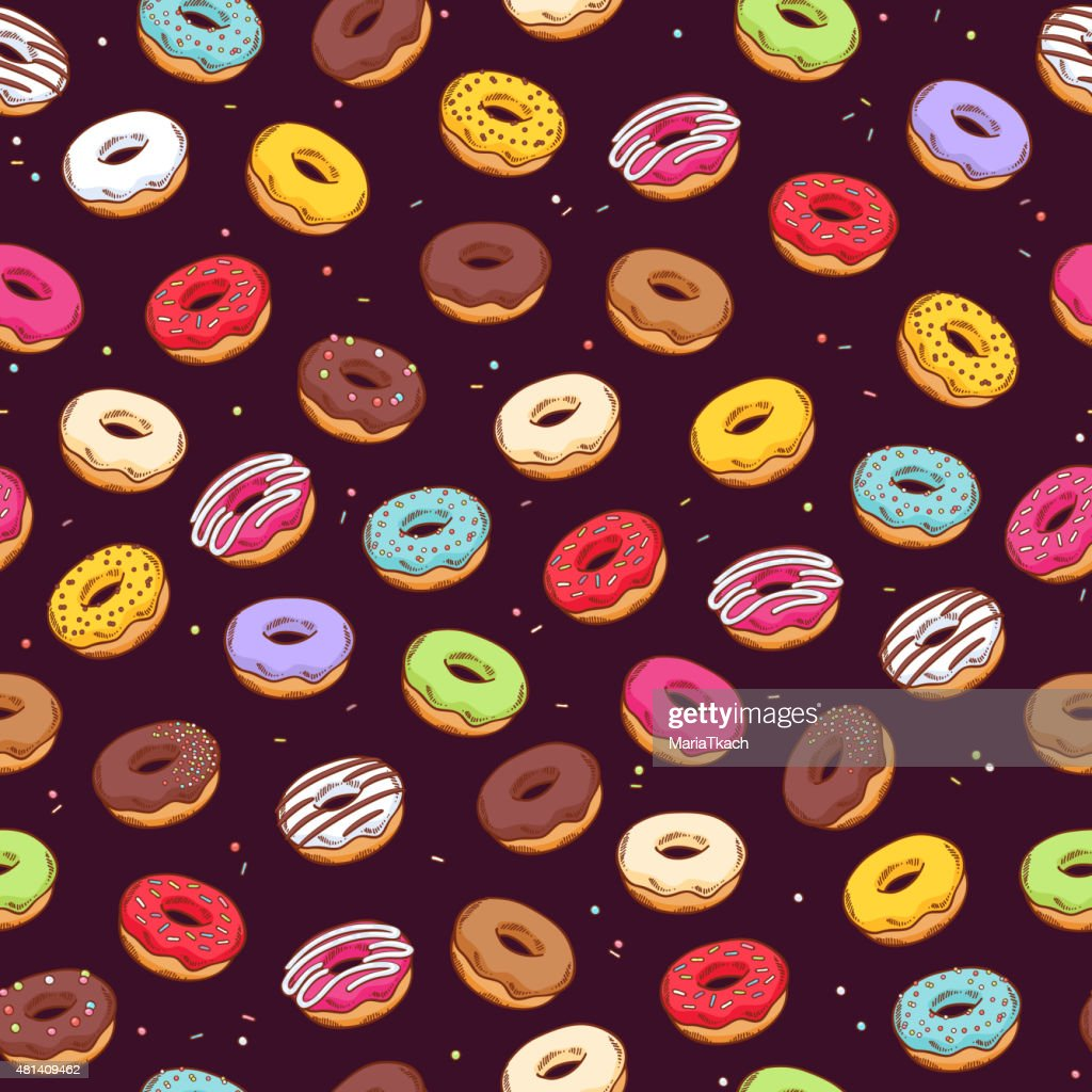 Colorful donuts seamless pattern. Doodle sketch style