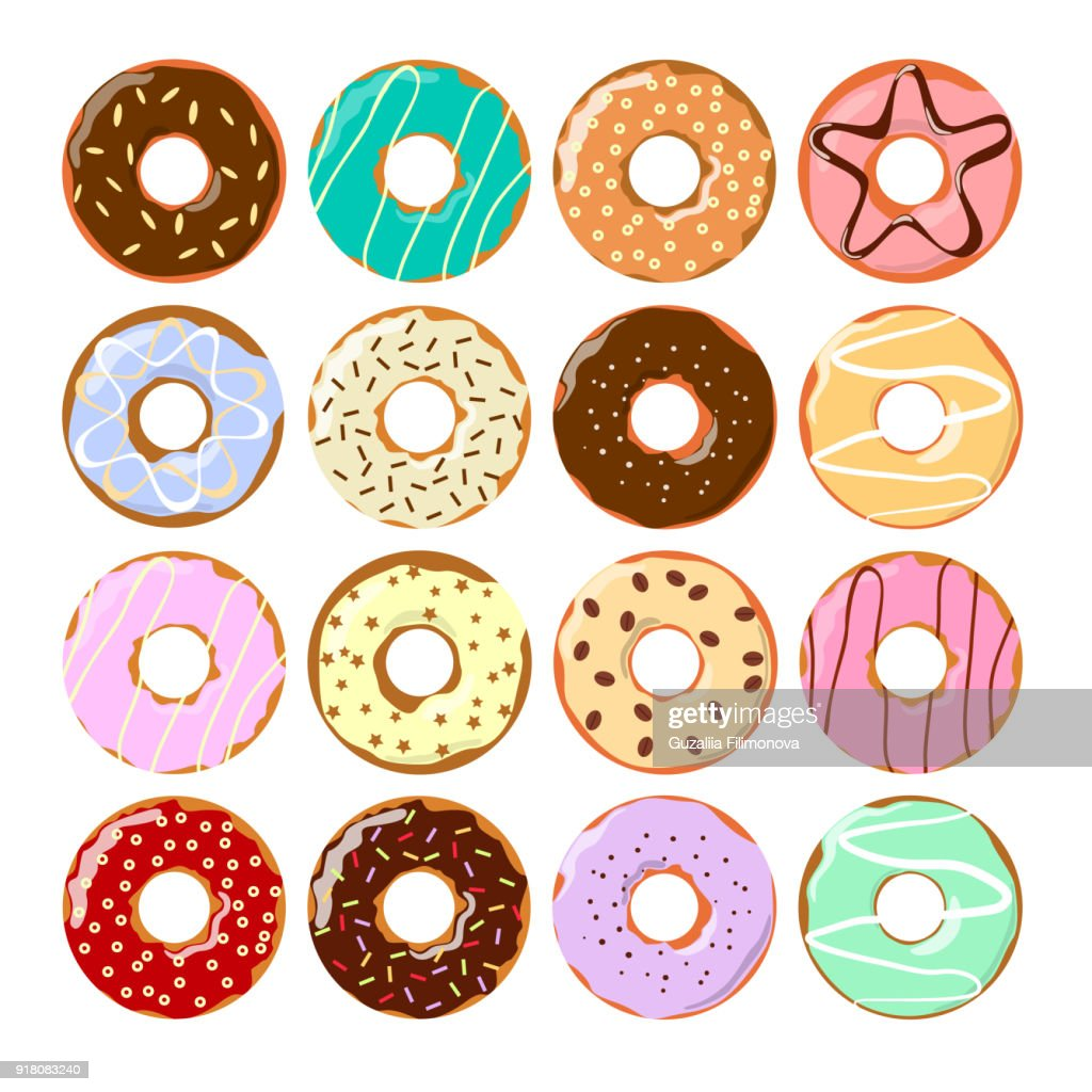 Colorful donuts set.