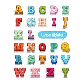 Colorful doodle style cartoon alphabet with simple patterns, volume.