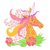 Colorful doodle style unicorn head with lush mane stock vector illustration