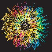 Colorful dotted abstract illustration. Color explosion splash background. Design element.