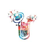 Colorful double bell euphonium with music notes
