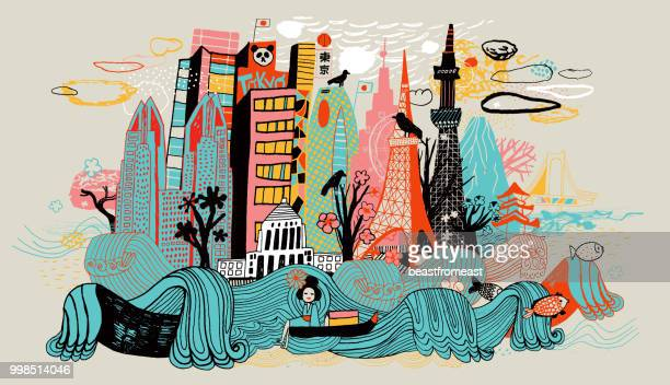 colorful drawing of tokyo skyline showing japanese cultural icons. - artistic product stock illustrations