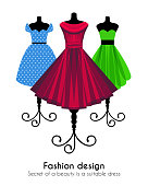 Colorful Dresses on the Mannequins Background