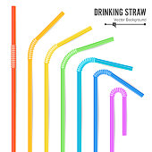 Colorful Drinking Straws Vector. Different Types. Plastic Straight And Curved. For Celebration Background Design, Cocktail Party Menu