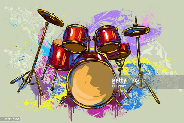 colorful drums - drum kit stock illustrations