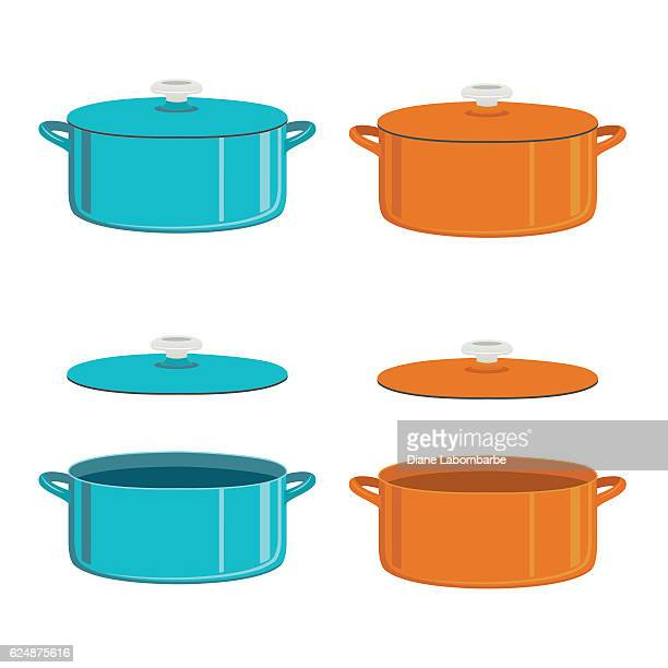カラフルなダッチオーブンまたはエナメルポット - ダッチオーブン点のイラスト素材/クリップアート素材/マンガ素材/アイコン素材