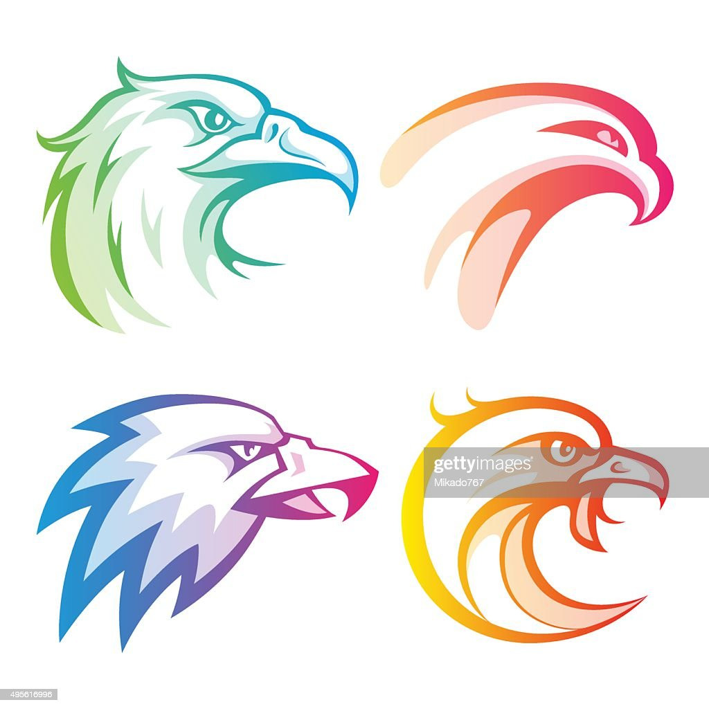 Colorful eagle head logos with rainbow gradients set on white