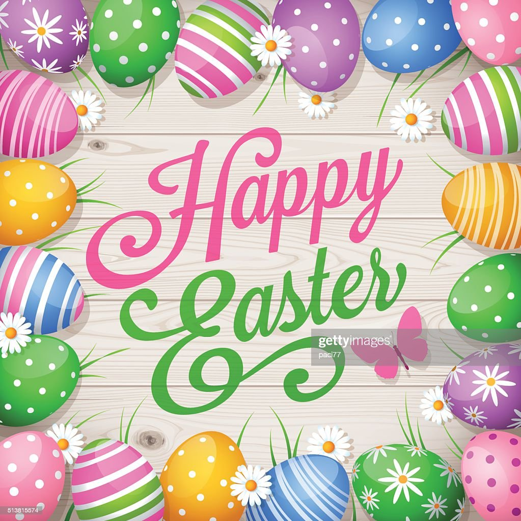 Colorful Easter eggs on wooden background and text Happy Easter : Vector Art