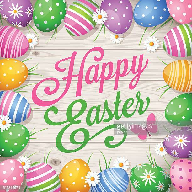 Colorful Easter eggs on wooden background and text Happy Easter
