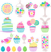 Colorful easter icons set vector illustration