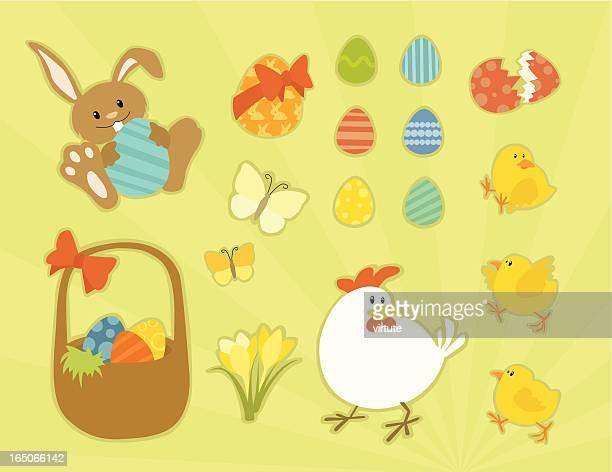 ilustrações, clipart, desenhos animados e ícones de objetos de páscoa coloridos - cesta de páscoa