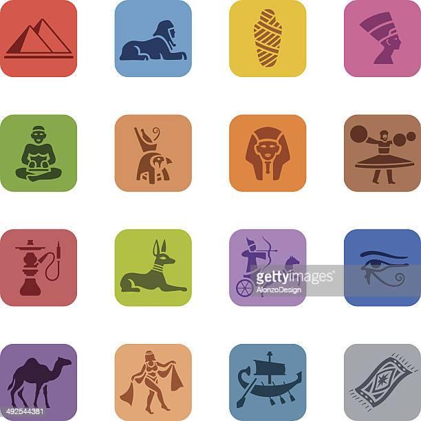 Conjunto de iconos coloridos egipcia