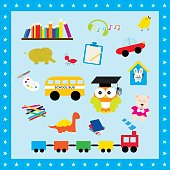 Colorful elements toys for kids. Illustration icon toys use to learn for children.