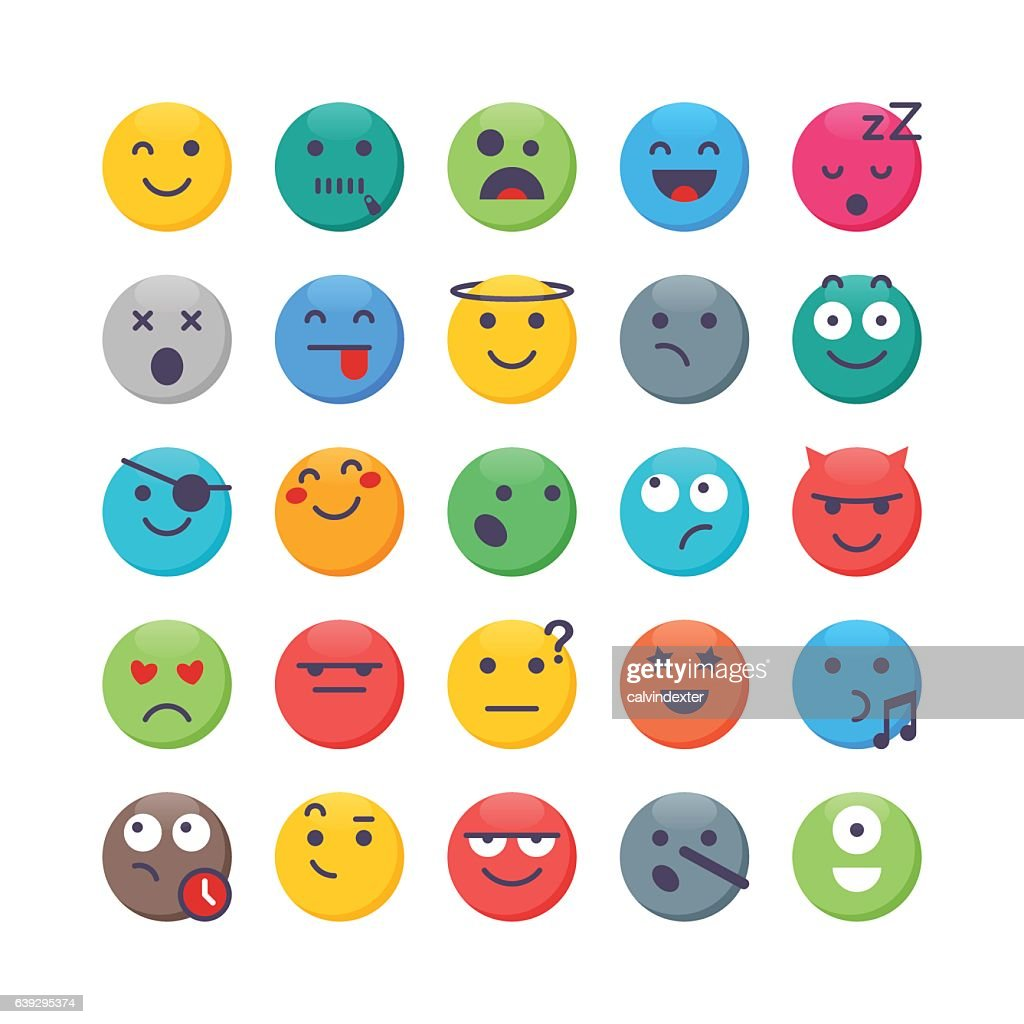 Colorful Emoji set 2 : stock illustration