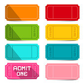 Colorful Empty Vector Tickets Set