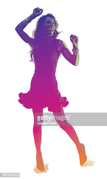 colorful engraved silhouette of a hispanic woman salsa dancing - latin american dancing stock illustrations, clip art, cartoons, & icons