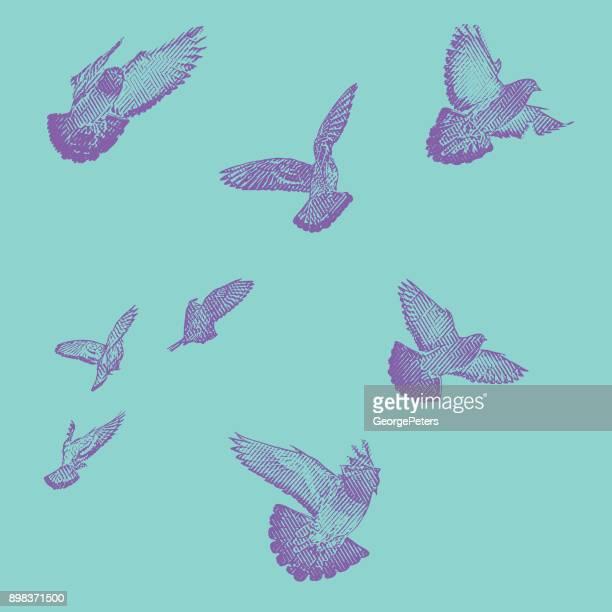 飛行中の鳥の群れのカラフルな彫刻のイラスト。