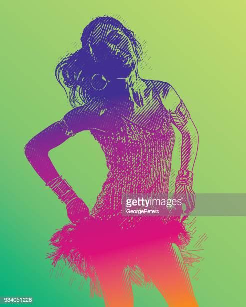 colorful engraving of a hispanic woman salsa dancing - salsa music stock illustrations, clip art, cartoons, & icons