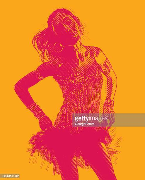 colorful engraving of a hispanic woman salsa dancing - cuban ethnicity stock illustrations, clip art, cartoons, & icons