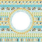 Colorful ethnicity round ornament, mosaic vector background