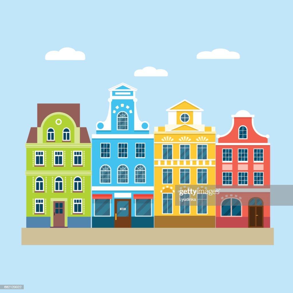 Colorful european houses. Vector flat illustration