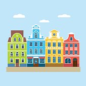 Colorful european houses. Vector flat illustration