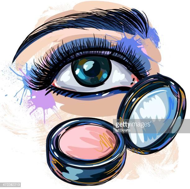 ilustraciones, imágenes clip art, dibujos animados e iconos de stock de colorido de sombras de ojos dorado - maquillaje para ojos