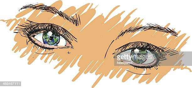 ilustrações, clipart, desenhos animados e ícones de colorido olhos - sobrancelha