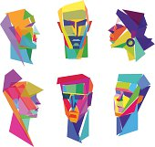 Colorful faces of people
