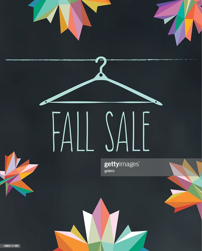 colorful fall sale illustration on black chalk board