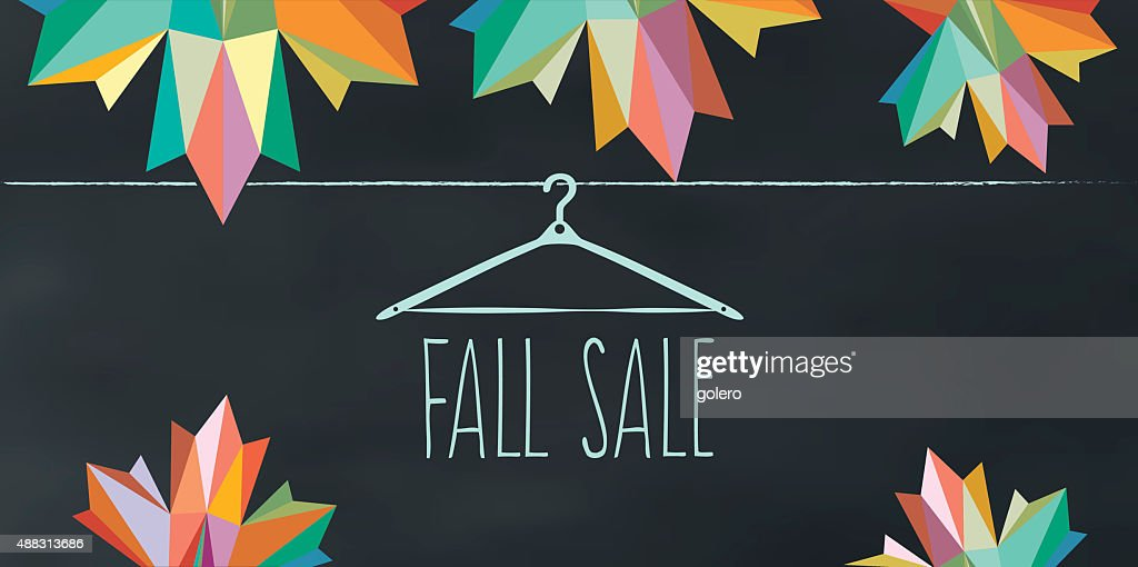 colorful fall sale illustration on chalk board