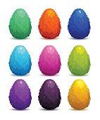 Colorful fantasy fluffy eggs set