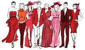 Colorful fashion women and men defile
