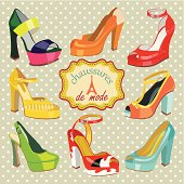 Colorful fashion women's High heel shoes.Label in French