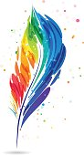Colorful feather pen