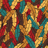 Colorful feathers mosaic seamless pattern vector