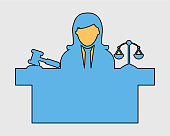 Colorful female Judge Icon with balance and hammer symbol