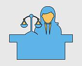 Colorful Female Judge Icon with balance symbol