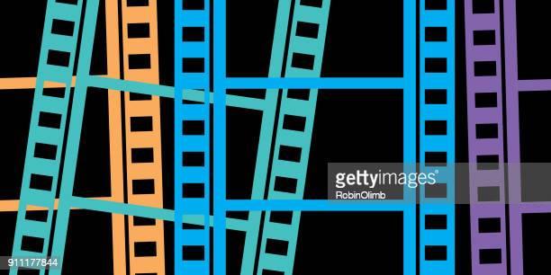 ilustrações de stock, clip art, desenhos animados e ícones de colorful filmstrips background - panorâmica