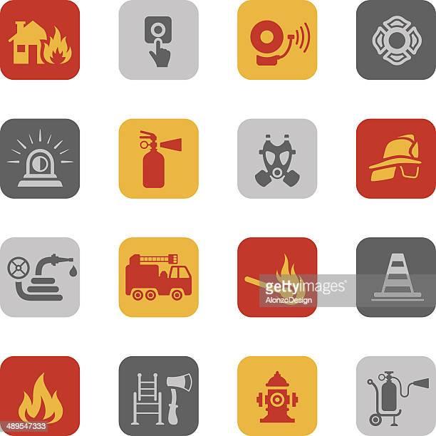 ilustrações de stock, clip art, desenhos animados e ícones de colorido conjunto de ícones de combate a incêndios - corpo de bombeiros