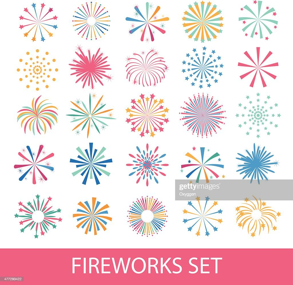 Colorful fireworks set isolated