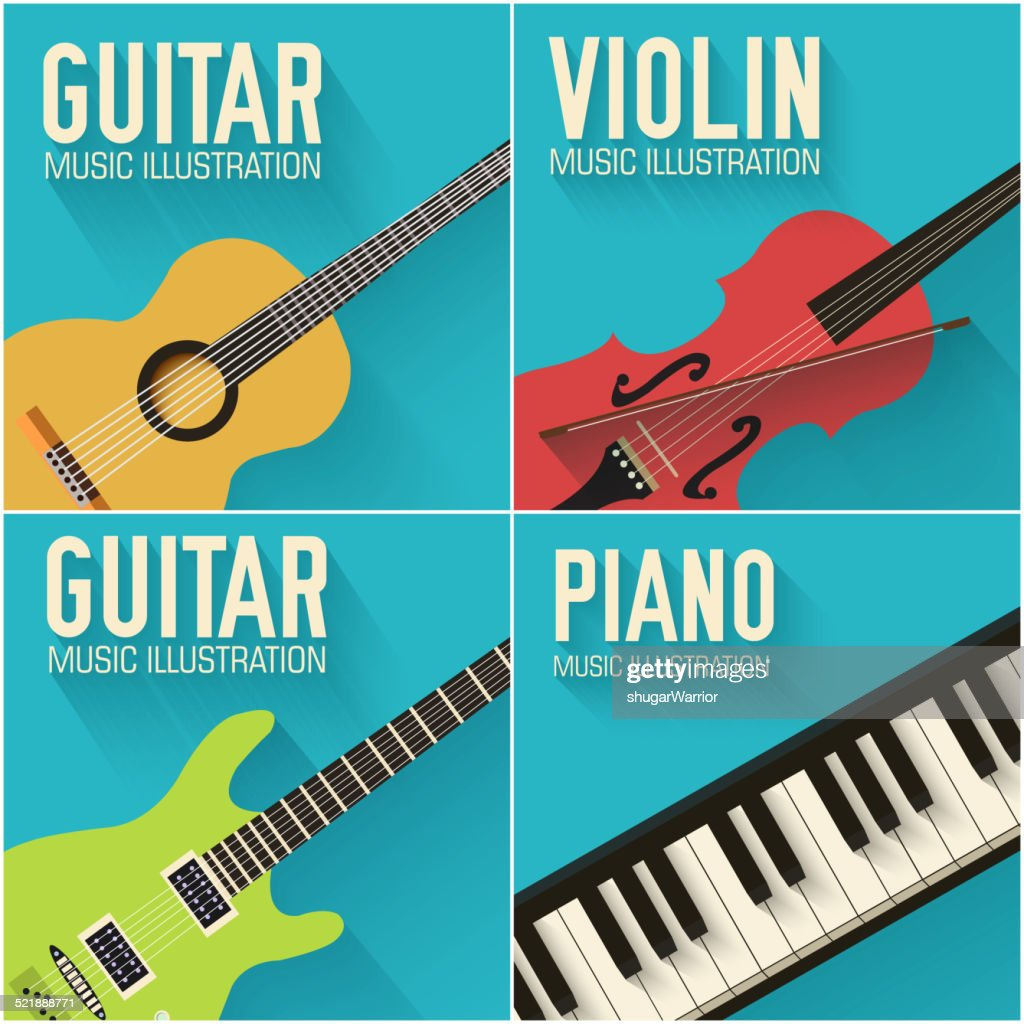 Colorful flat classical musical instruments backgrounds set vector illustration