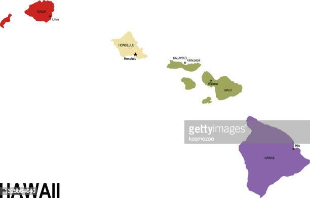 colorful flat map of the state of hawaii usa with counties - honolulu stock illustrations