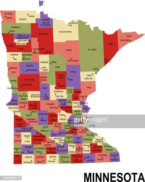 ilustrações, clipart, desenhos animados e ícones de mapa plano colorido do estado de minnesota eua com condados - usa